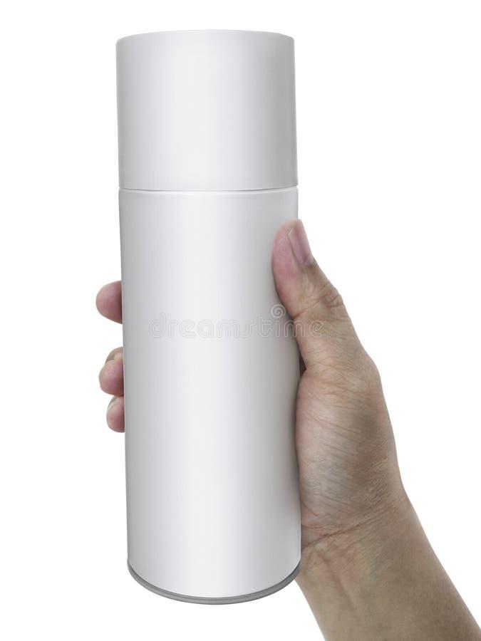 Mann ` s Hand hält einen Spray Getrennt auf einem weißen Hintergrund stockbilder