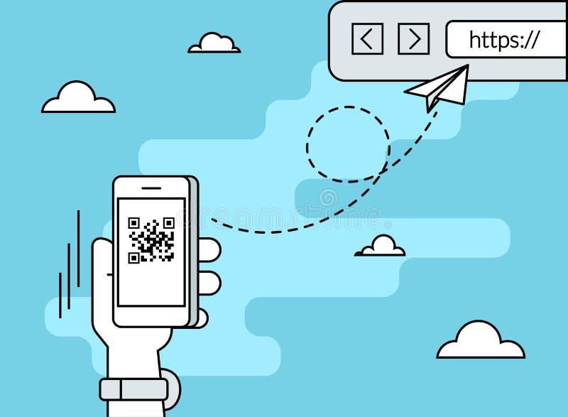 Mann scannt QR-Code über Smartphone-APP lizenzfreie abbildung