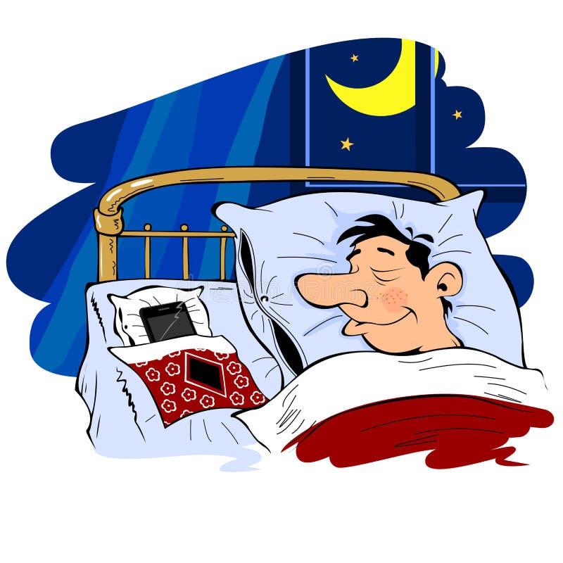 Mann schläft nahe dem Telefon lizenzfreie abbildung
