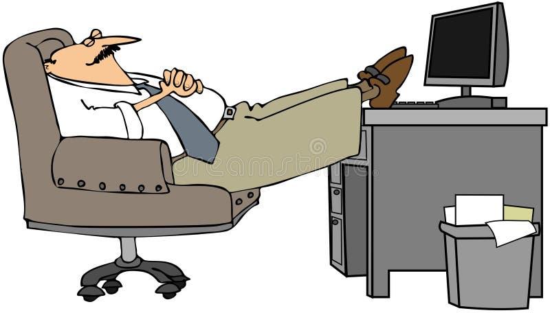 Mann schlafend an seinem Schreibtisch vektor abbildung