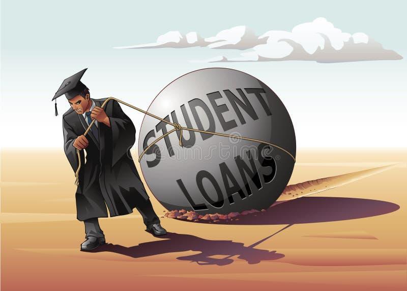 Mann-schleppender Student Loans stock abbildung