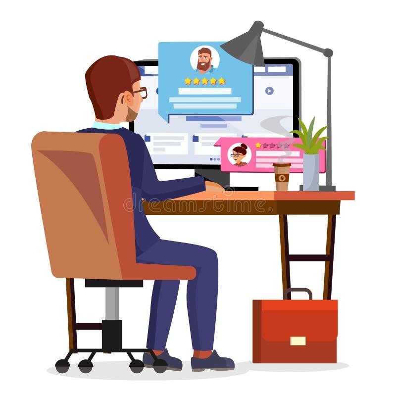 Mann-Schreibens-Kunden-Referenz auf Internet-Online-Shop-Vektor Abstimmung, Feedback, Bewertung, gemocht Lokalisierte Ebene stock abbildung