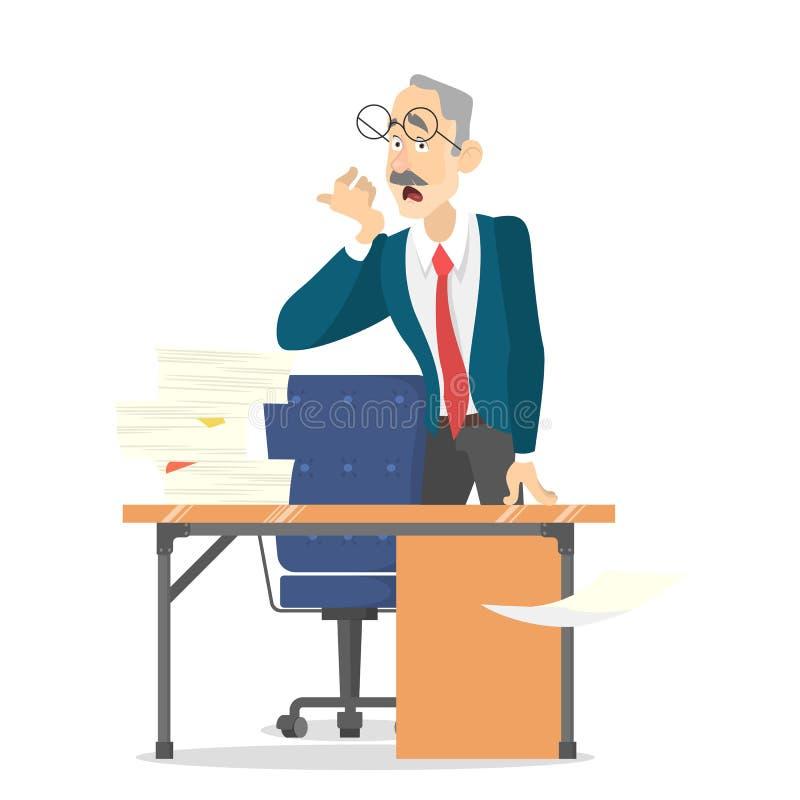Mann am Schreibtisch mit Stapel des Dokuments auf ihm stock abbildung