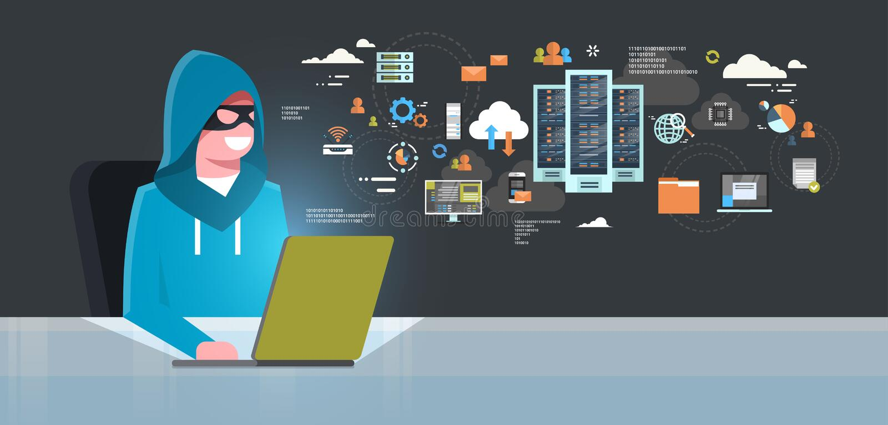 Mann-schwarze Maske, die an der Computer-Hacker-Tätigkeits-Konzept-Virus-Datenschutz-Angriffs-Internet-Informationssicherheit sit lizenzfreie abbildung