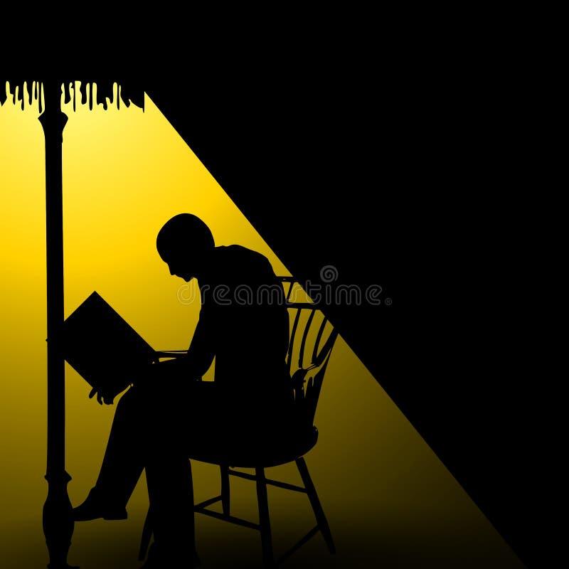 Mann-sitzendes Lesebuch alleine stock abbildung
