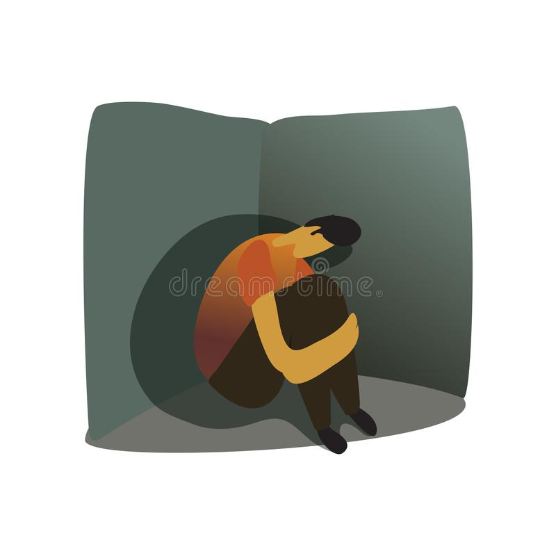 Mann sitzt in der Ecke Vektorabbildung auf wei?em Hintergrund lizenzfreie abbildung