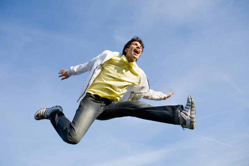Mann - springend stockfotografie