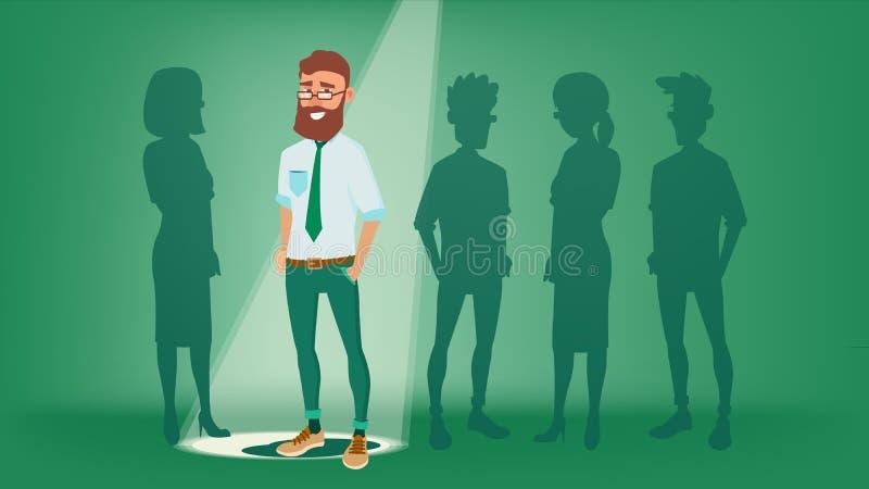 Mann stehen heraus vom Mengen-Vektor Wählen der Arbeitskraft Lächelnder Geschäftsmann Stehende Büroangestellte Job And Staff vektor abbildung