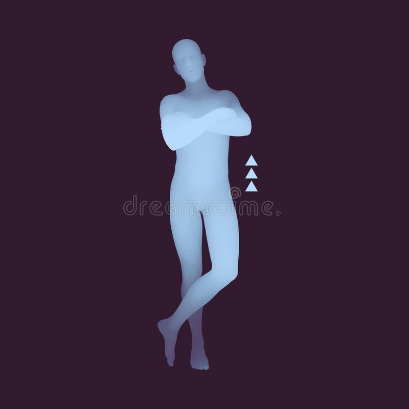 Mann steht auf seinen Füßen Bemannen Sie die Kreuzung seiner Arme über seinem menschlicher Körper-Modell des Kasten-3D Vektorbild vektor abbildung