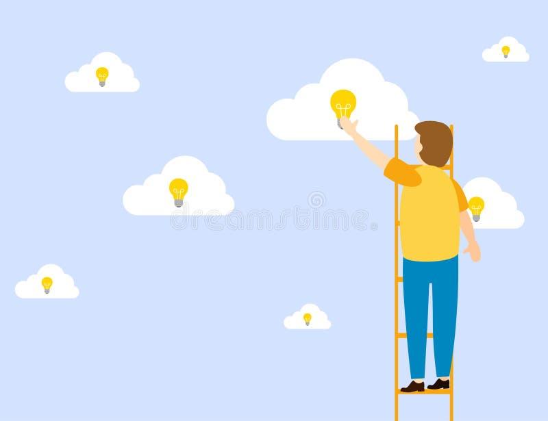Mann steht in der Treppe, um Ideen mit einer Glühlampe zu erzielen stock abbildung