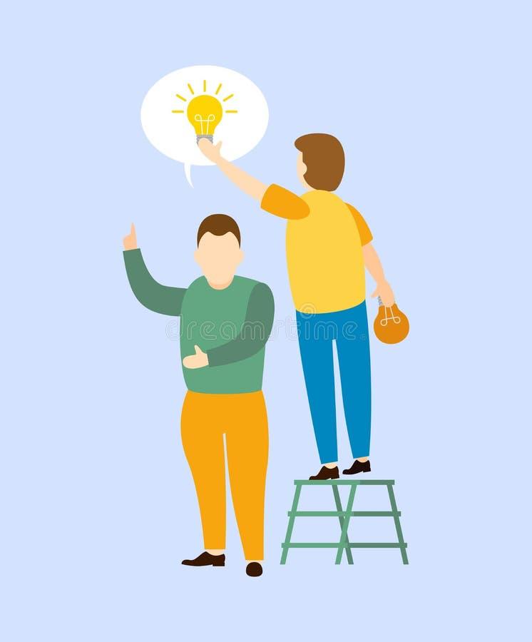 Mann steht in der Treppe, um Ideen mit einer Glühlampe zu erzielen lizenzfreie abbildung