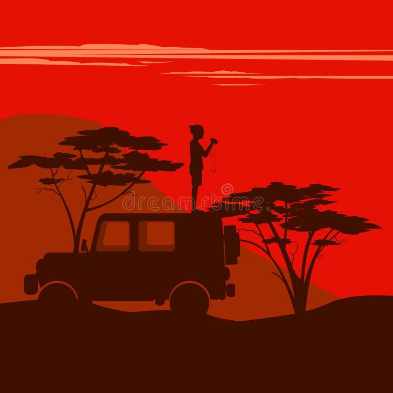 Mann steht in einem Auto stock abbildung