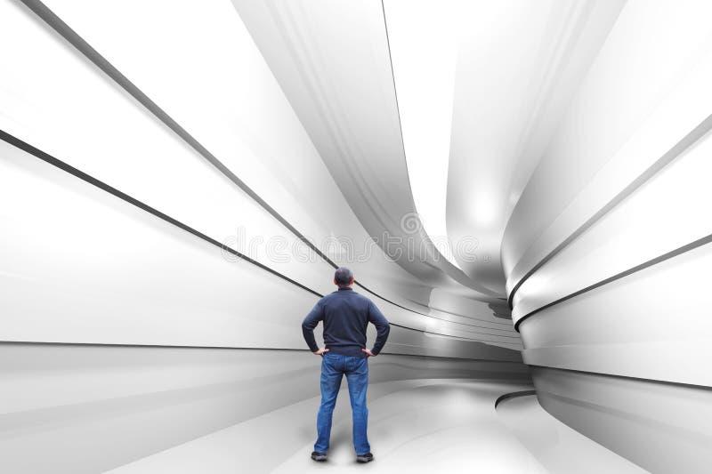 Mann steht in einem Tunnel mit einer Drehung lizenzfreie abbildung