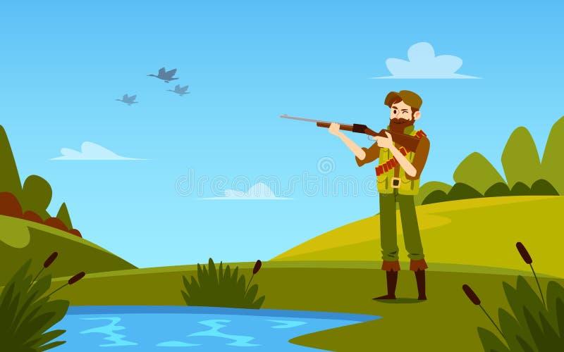 Mann steht, halten Schrotflinte, um sich zu ducken, Karikaturart draußen jagend vektor abbildung