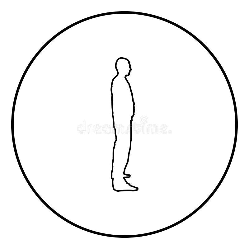 Mann steht im Arbeitskleidungsoverall angekleidet und schaut schwarzen Vektor des geraden Ikonenentwurfs Farbin der Kreisrundenil vektor abbildung