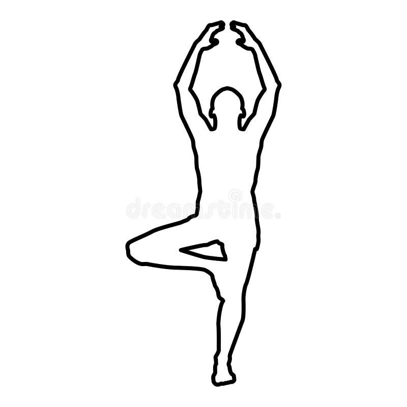Mann steht im Lotussitz, der Yogaschattenbildikonenschwarz-Farbillustrationsentwurf tut lizenzfreie abbildung