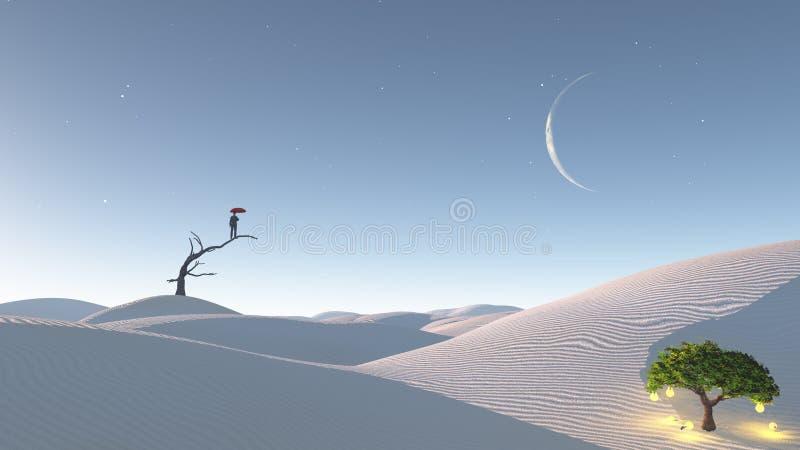 Mann steht nach verwelktem Baum in der Wüste stock abbildung