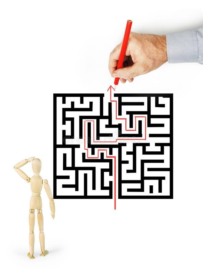 Mann stellt zu anderer Personenweise durch das Labyrinth dar vektor abbildung