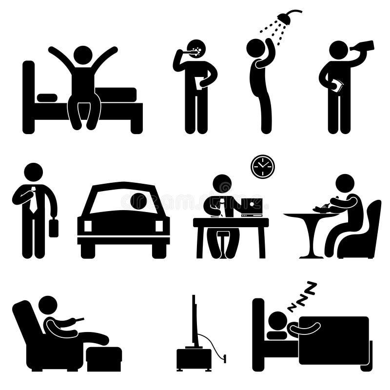 Mann-tägliches Routineleute-Ikonen-Zeichen stock abbildung
