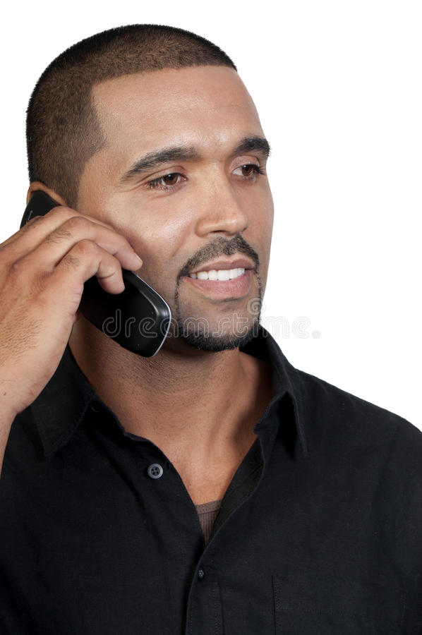 Mann am Telefon lizenzfreie stockfotografie