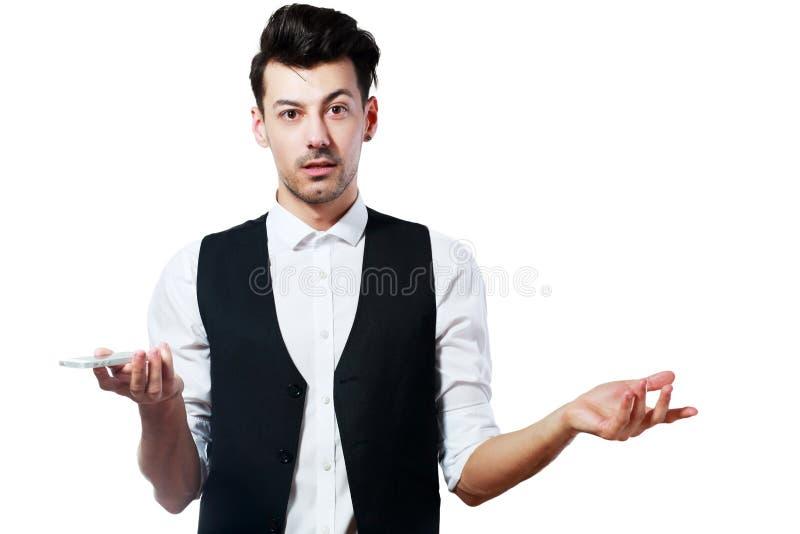 Mann telefonisch verwirrt lizenzfreie stockfotos