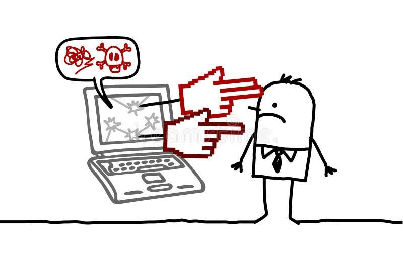 Mann u. Cyberbullying lizenzfreie abbildung