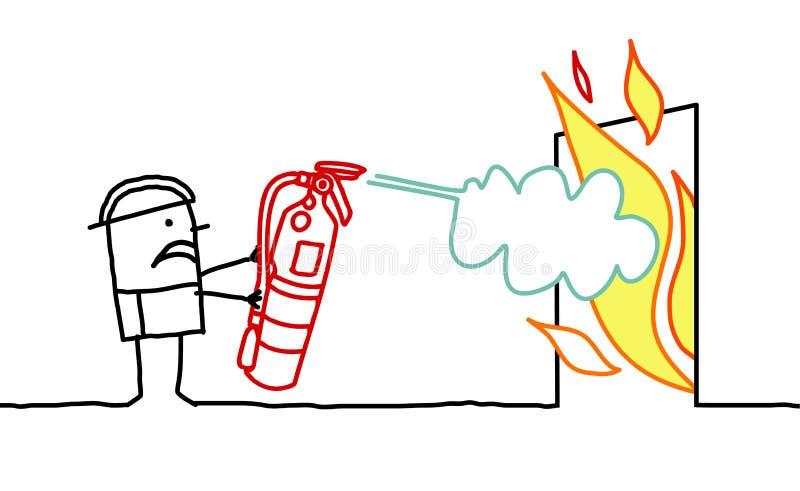 Mann u. Feuer stock abbildung