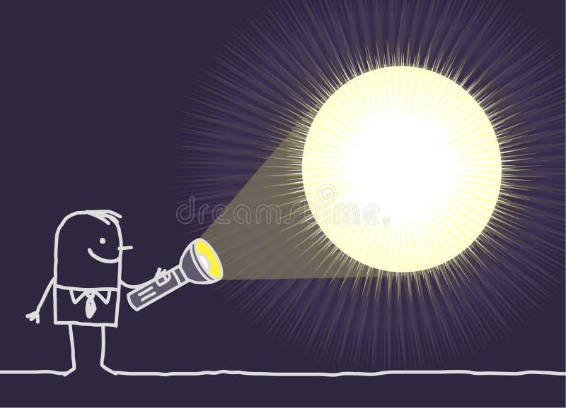 Mann u. Taschenlampe stock abbildung