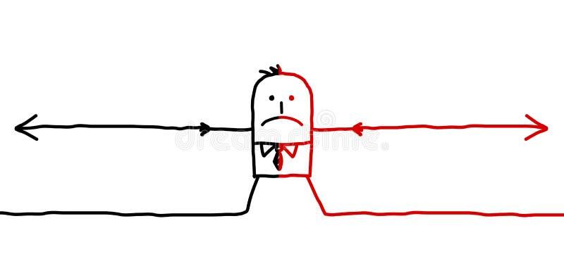 Mann u. zwei entgegengesetzte Richtungen stock abbildung
