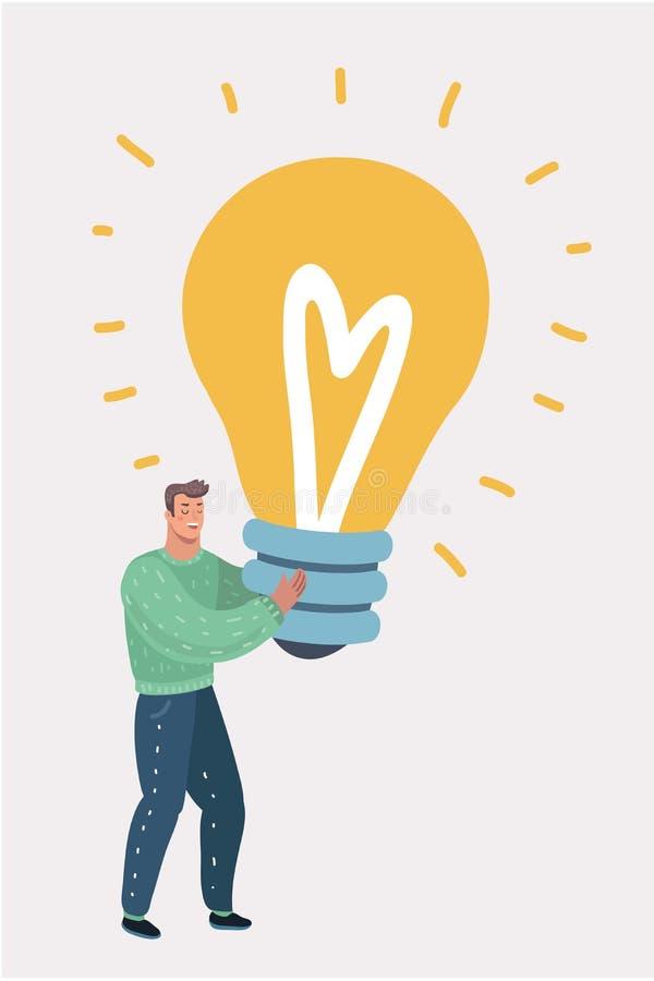 Mann umarmt eine große Glühlampe Große gute Idee stock abbildung