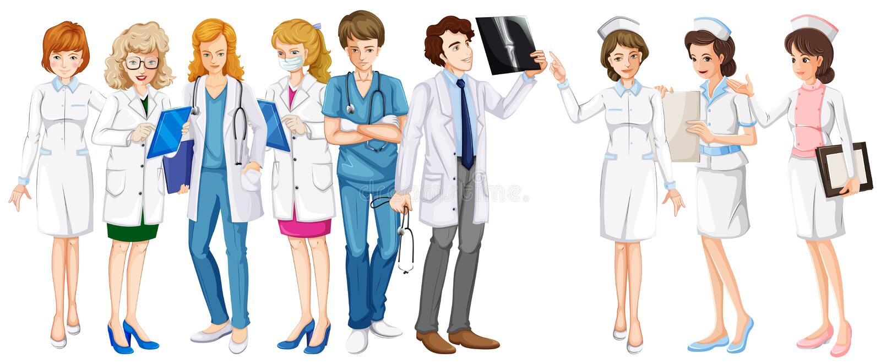 Mann und Ärztinnen und Krankenschwestern vektor abbildung