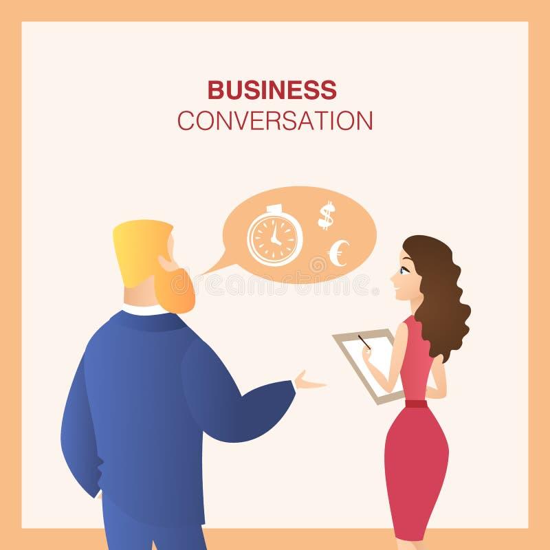 Mann und Arbeitskollegin-Geschäfts-Gespräch vektor abbildung