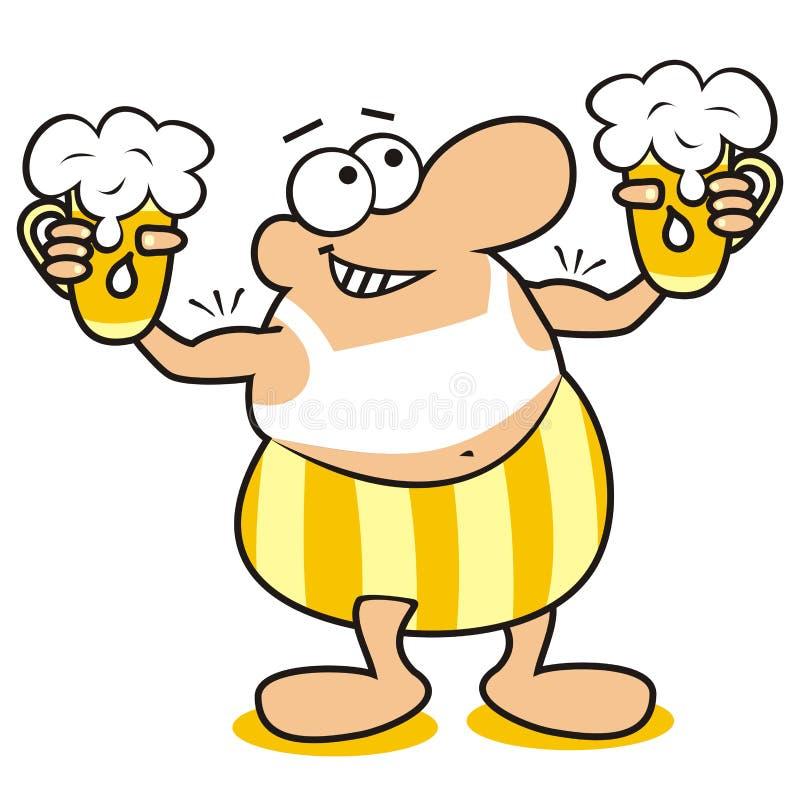 Mann und Bier, Maskottchen lizenzfreie abbildung