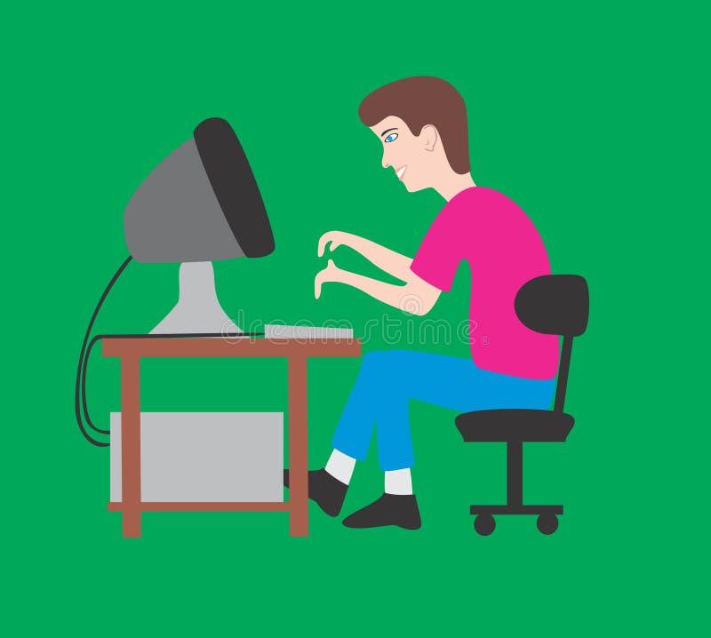 Mann und Computer stock abbildung