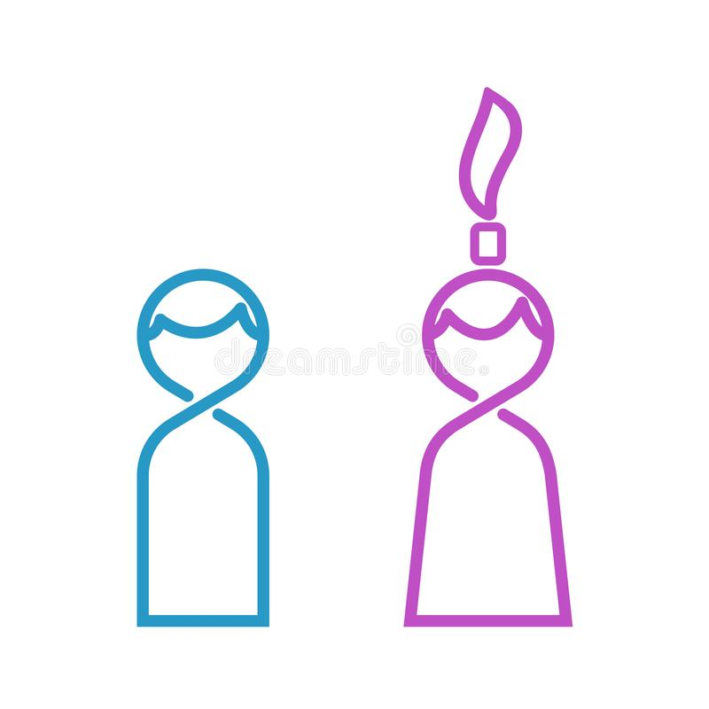 Mann und dünne Linie Toilettenikone, Mannfrauen des weiblichen Vektors unterzeichnen vektor abbildung