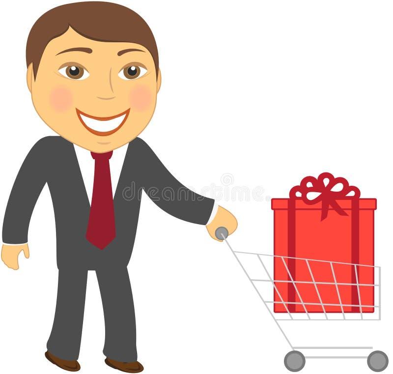 Mann und Einkaufswagen mit Kasten lizenzfreie abbildung