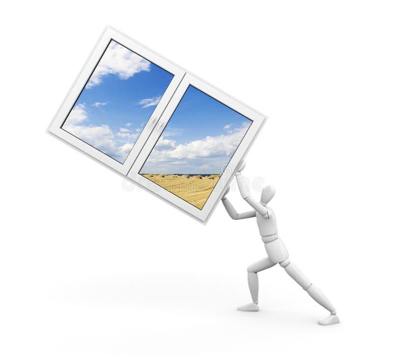 Mann und Fenster zur Natur stock abbildung