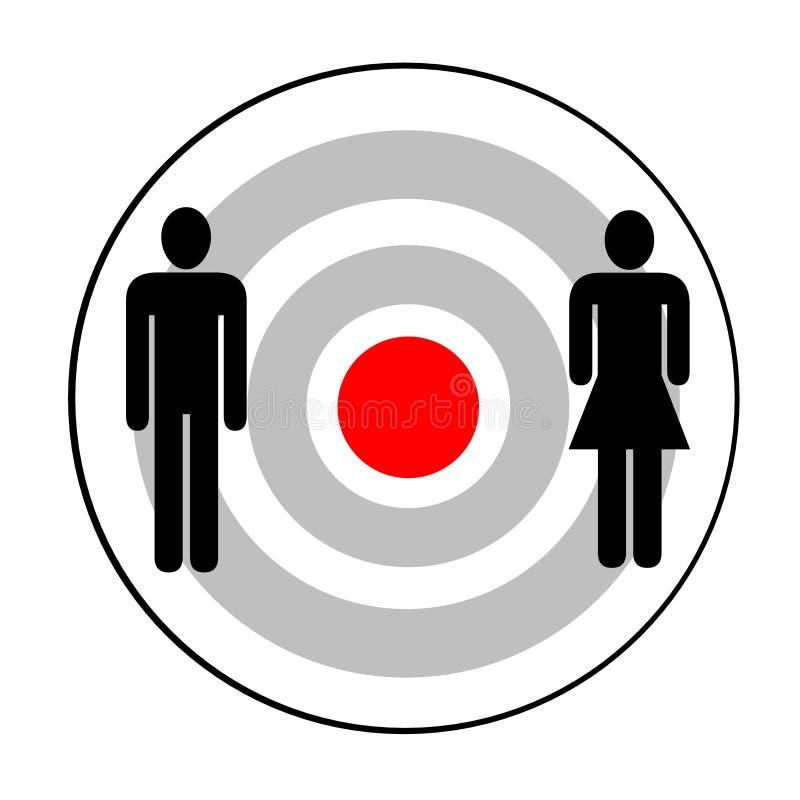 Mann und Frau anvisiert stock abbildung