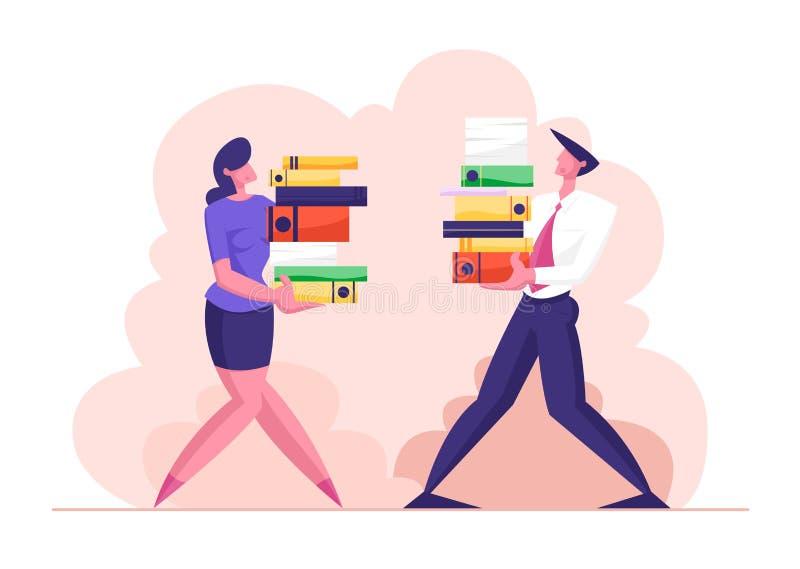 Mann und Frau Carry Big Heap von Belegdateien Geschäftsleute der Charakter-, Büroangestellter bei der Arbeit stock abbildung