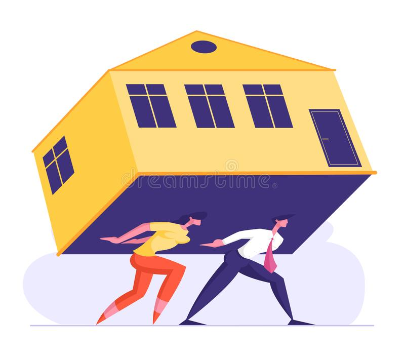 Mann und Frau Carry Heavy Huge House auf der Rückseite Familienkollektoren, die mit überwältigenden Hypotheken kämpfen stock abbildung