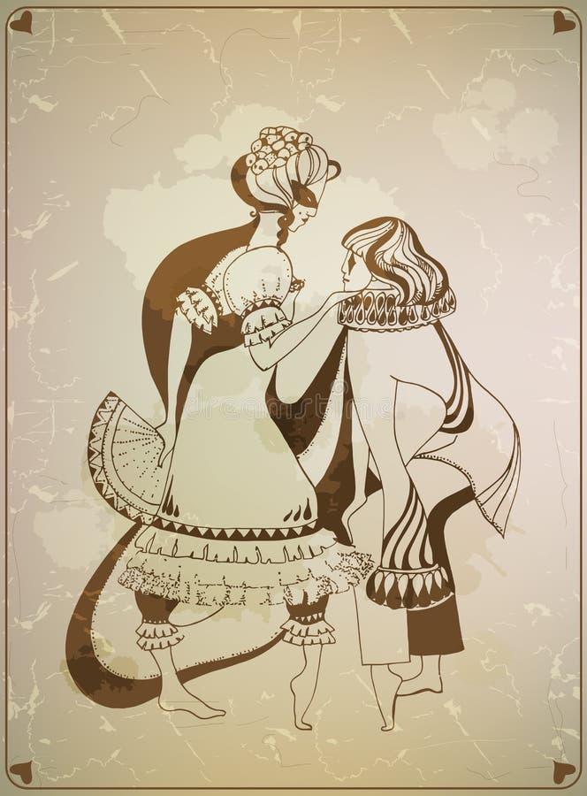 Mann und Frau in den Karnevalsmasken vektor abbildung