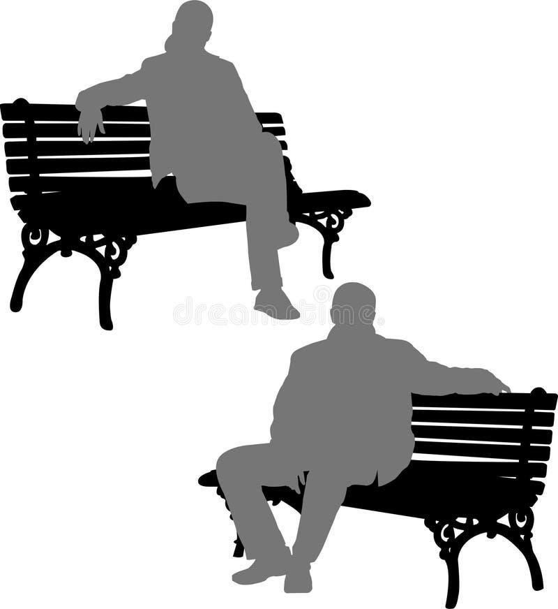 Mann und Frau, die auf der Parkbank sitzen lizenzfreie abbildung