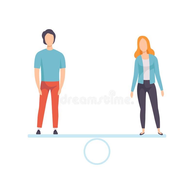 Mann und Frau, die auf Skalen, gleiche Rechte von Leuten, Gleichberechtigung der Geschlechter in der Gesellschafts-Vektor-Illustr lizenzfreie abbildung