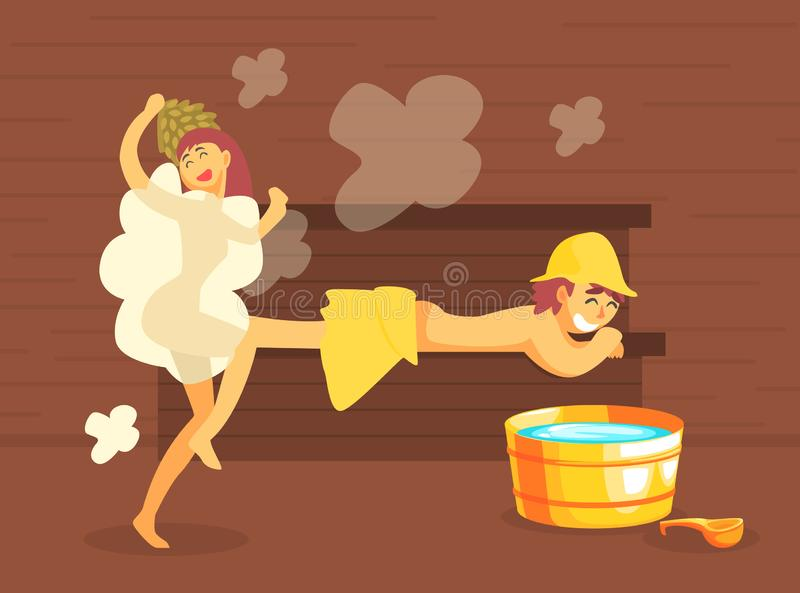 Mann und Frau, die in der hölzernen Badeanstalt baden oder Sauna voll vom Dampf, Mädchen, das ihre Körper-Vektor-Illustration wäs lizenzfreie abbildung