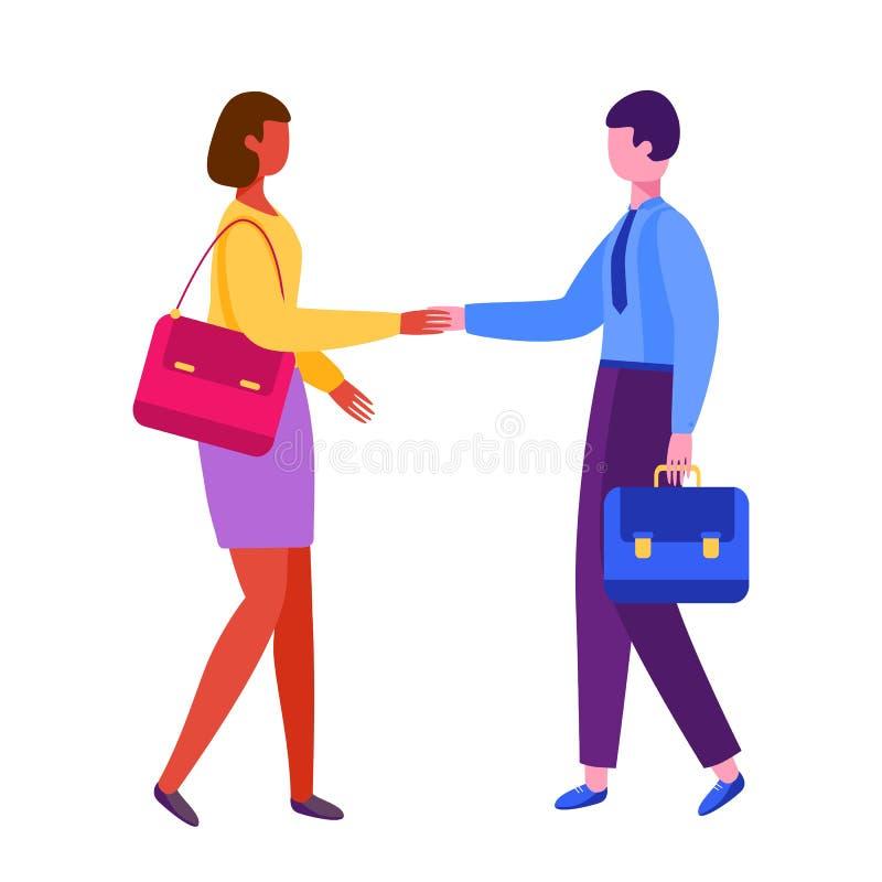 Mann und Frau, die Hände rütteln Geschäftsmannpartnerschaft vektor abbildung