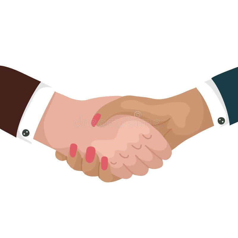 Mann und Frau, die H?nde r?tteln Gesch?ftsmann, der ein Abkommen macht Internationaler Freundschaftstag Gleichheit in der Arbeit  stock abbildung