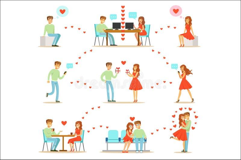 Mann und Frau, die Liebe finden und unter Verwendung der Datierungs-Website und APP auf Smartphones und Computern Infographic dat lizenzfreie abbildung