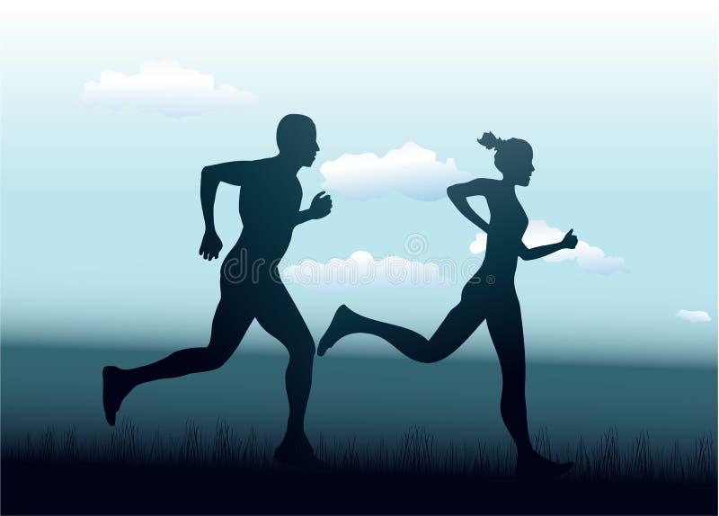 Mann und Frau, die zusammen laufen stock abbildung