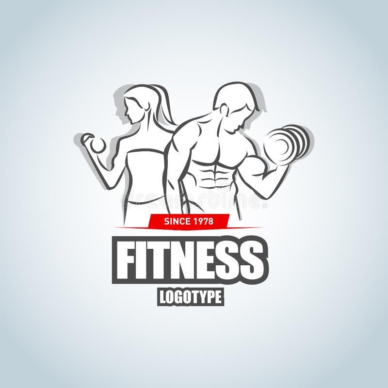 Mann-und Frau Eignungslogoschablone Turnhallenclubfirmenzeichen Kreatives Konzept des Sport-Fitness-Clubs Alle verschiedenen Graf lizenzfreie abbildung