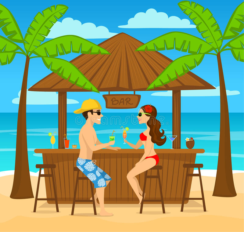 Mann und Frau enjoyig Sommerferien, Getränkcocktails an der Strandbar vektor abbildung